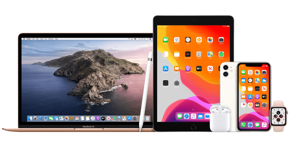 Apple product lineup including MacBook Pro, iPad, iPhone, AirPods and Apple Watch