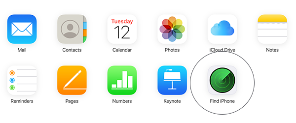 Find My icon in iCloud settings on a browser