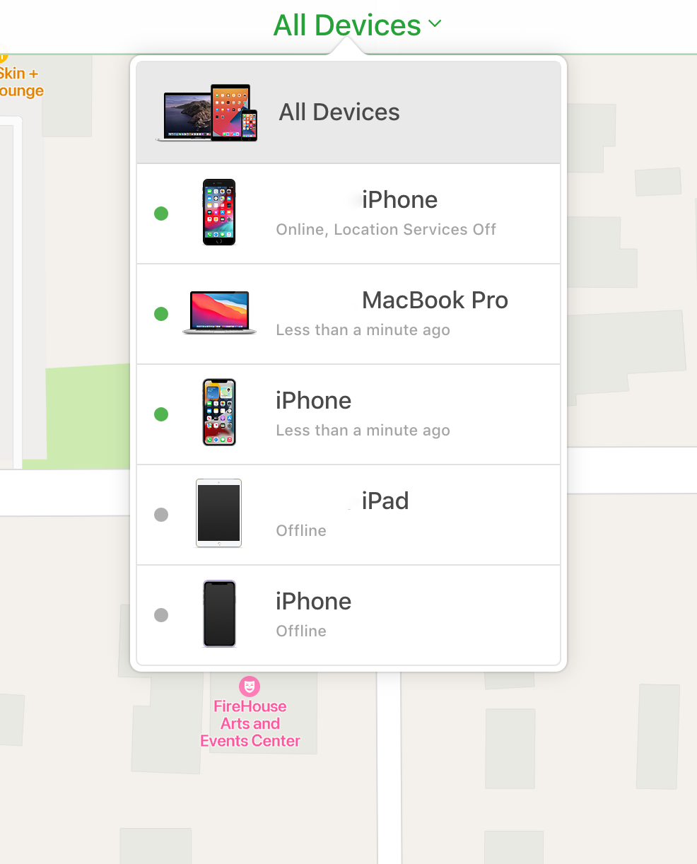 Device dropdown in Find My on a browser