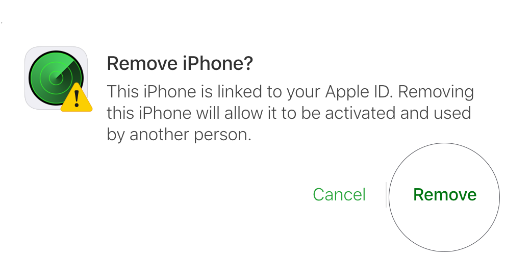 Final step - removing iPhone from Find My