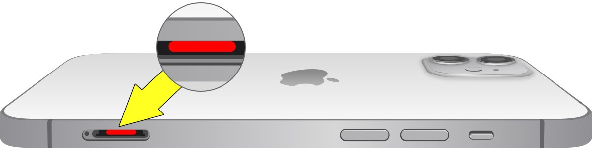Graphic showing where the Liquid Contact Indicator is on the iPhone 12