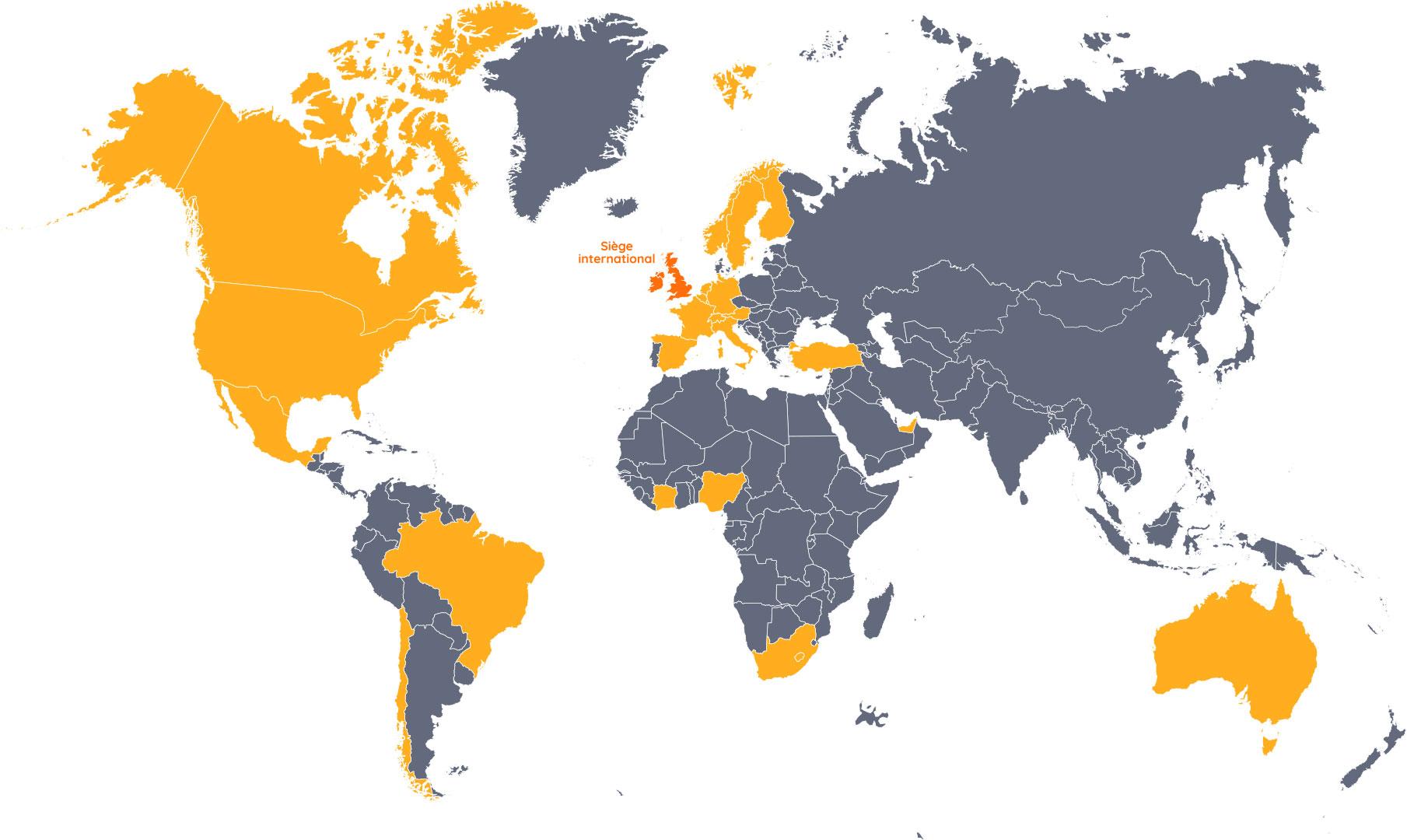 Carte - Présence de ChargeBox dans le monde