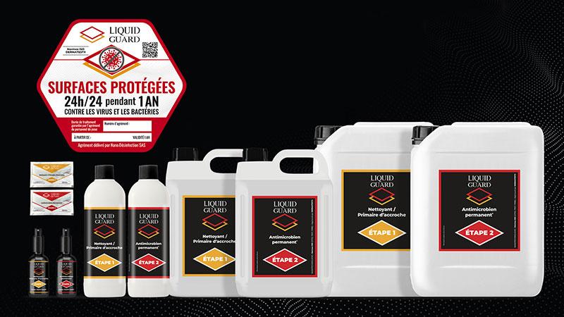 Liquid Guard : Traitement bi-couche de désinfection permanente et automatique des surfaces