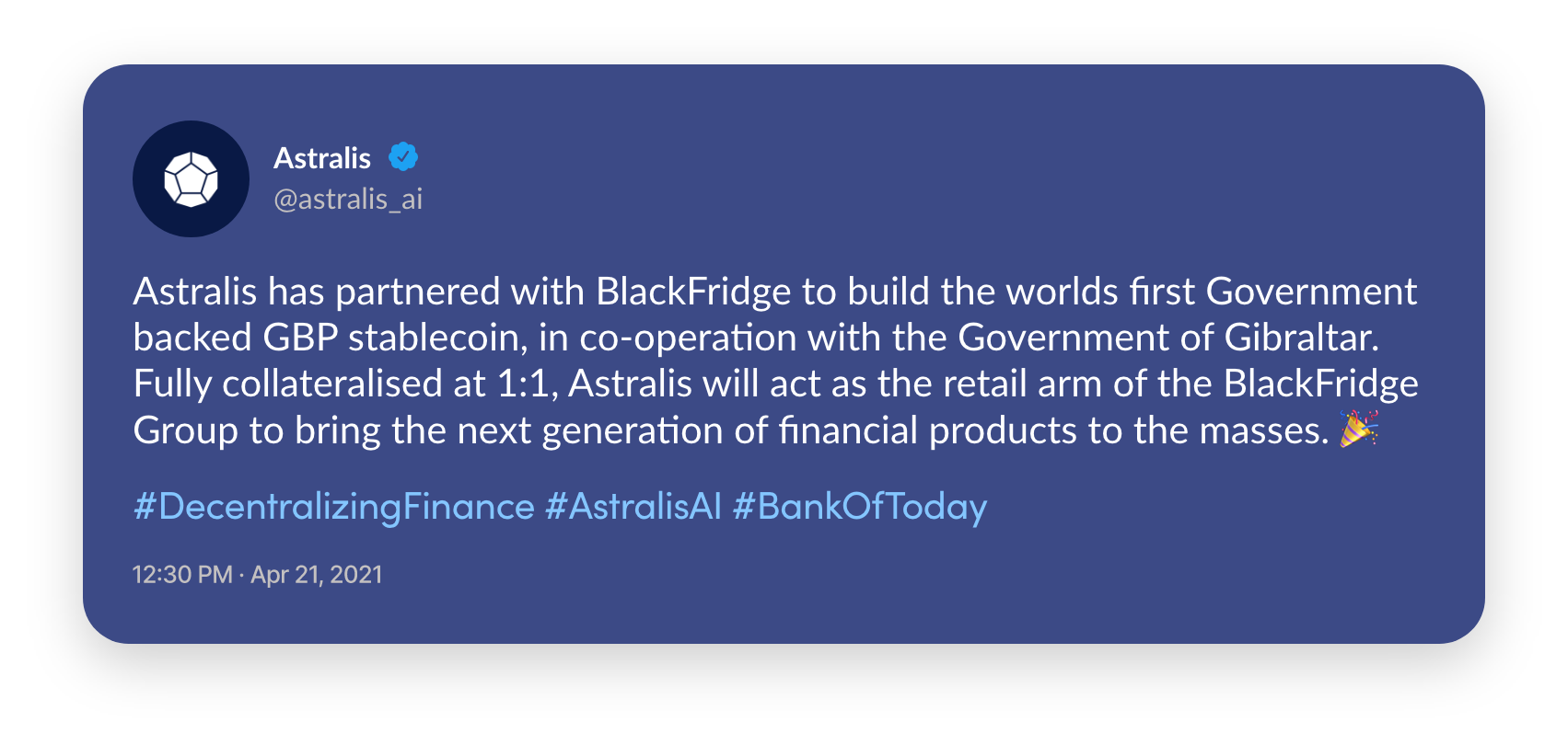 Astralis has partnered with BlackFridge to build the worlds first Government backed GBP stablecoin.