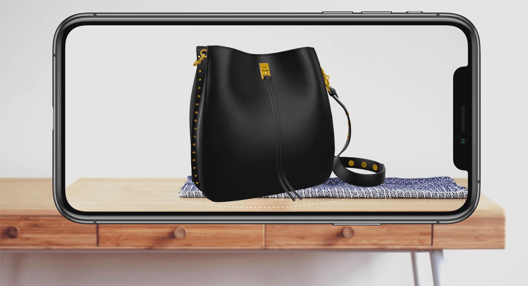 Black handbag 3D model in AR