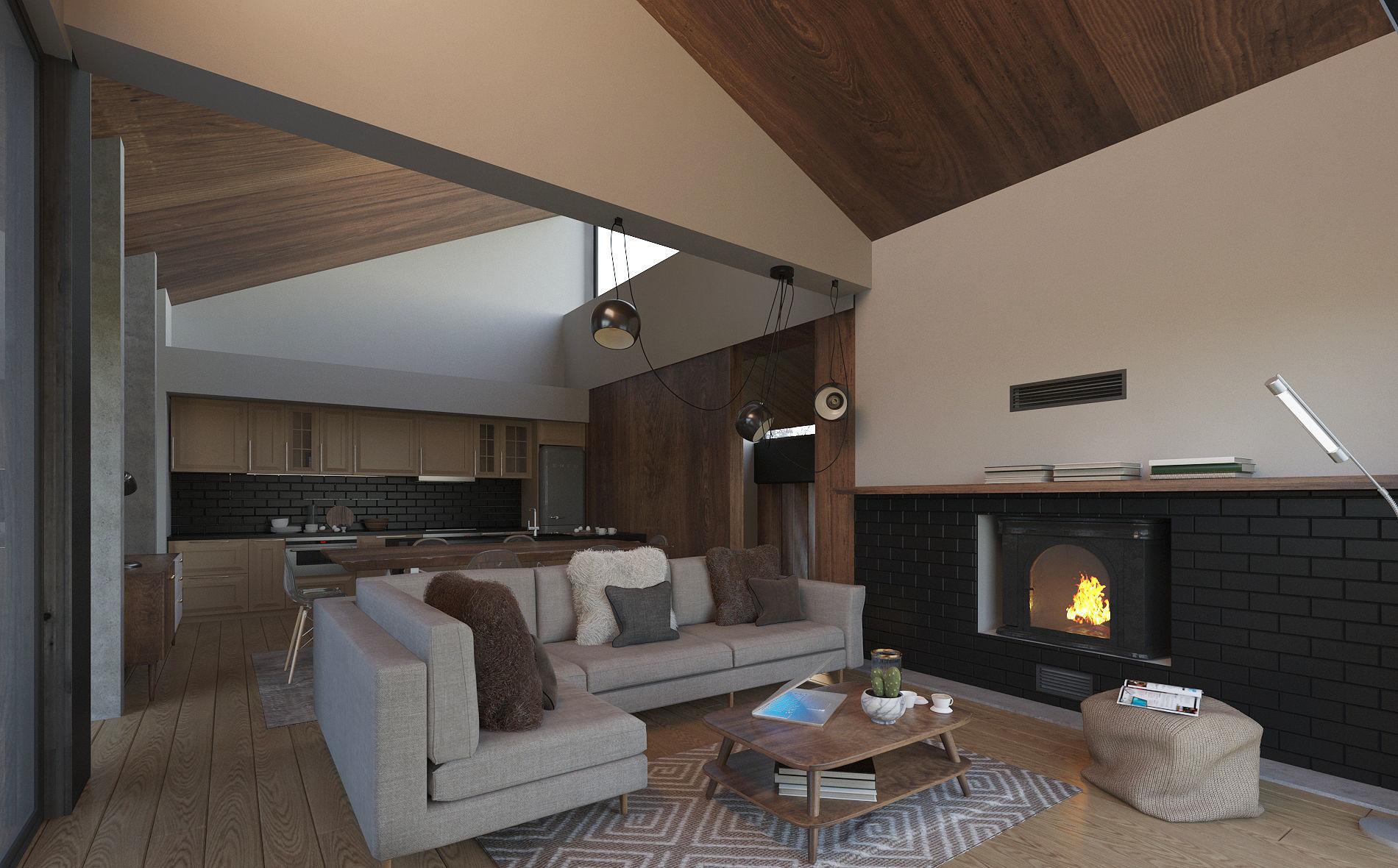 Winter Cabin House Living Room