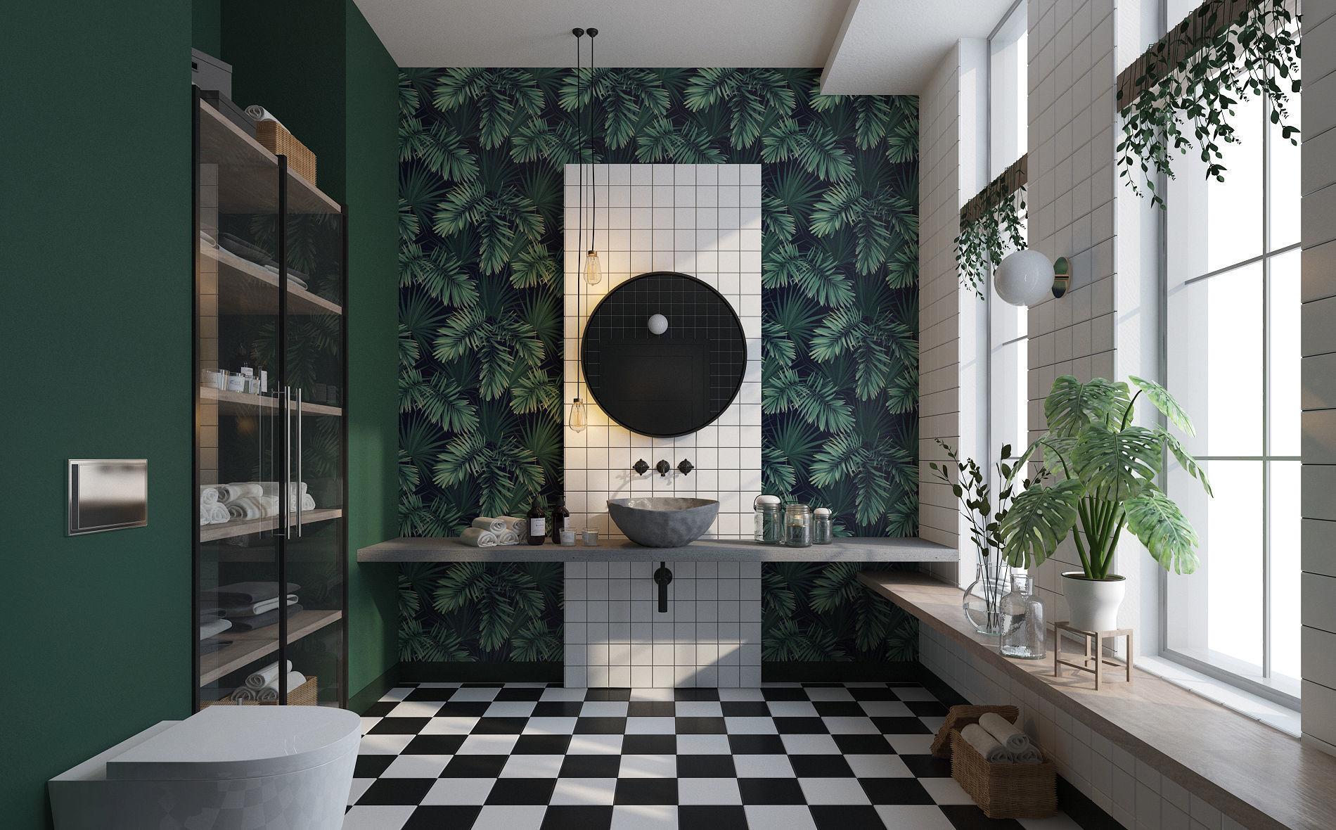 Glam Green Bathroom
