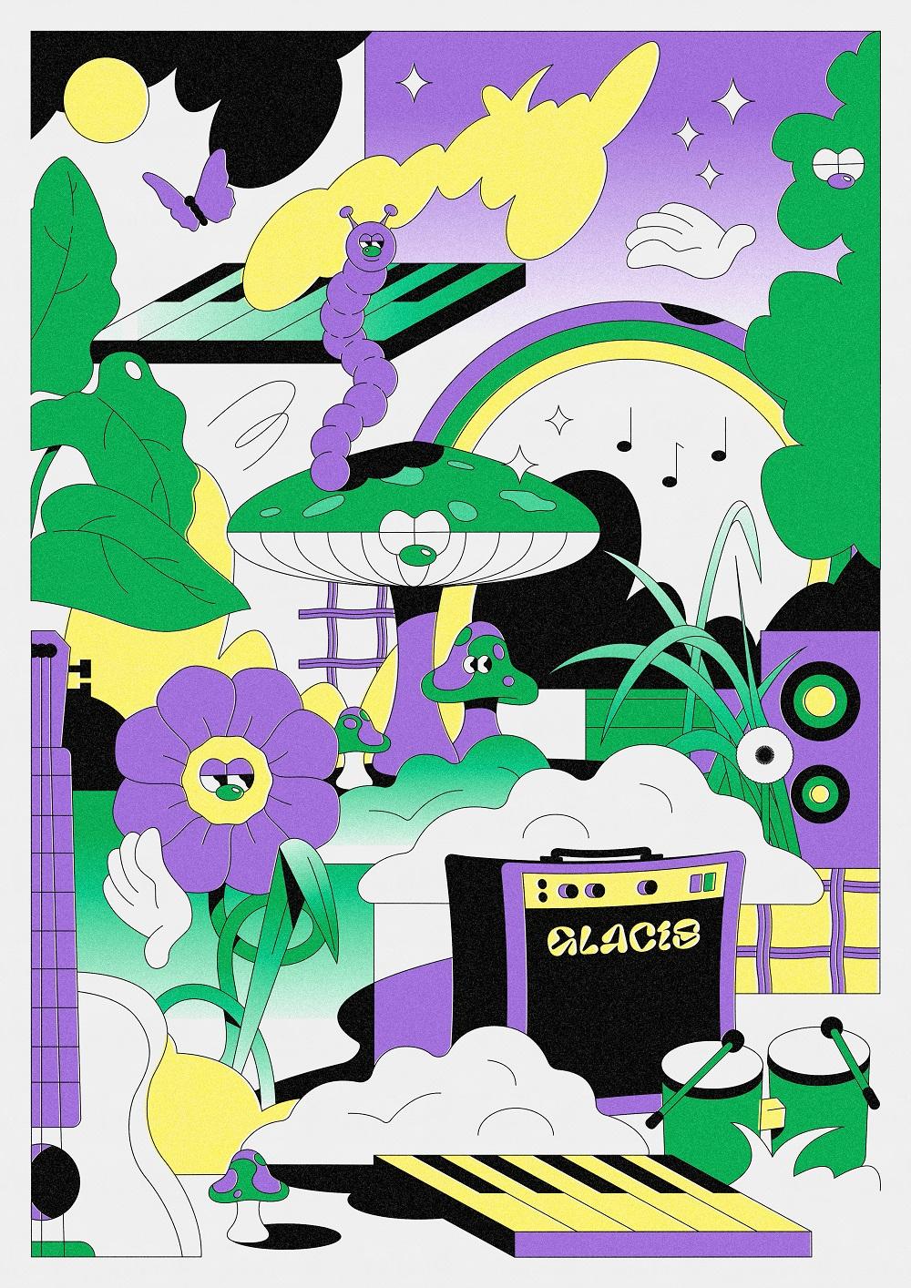 Poster mit Illustrationen vom Glacis Open Air. Freundlich gestaltet mit vielen kleinen Details. Unter anderem auffalende Stielaugen.