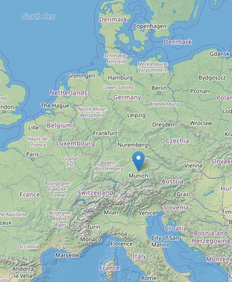 Map of Europe showing Kitekraft HQ in Munich.