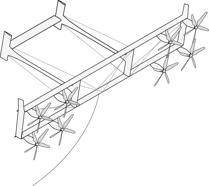 Sketch of isometric view of kite