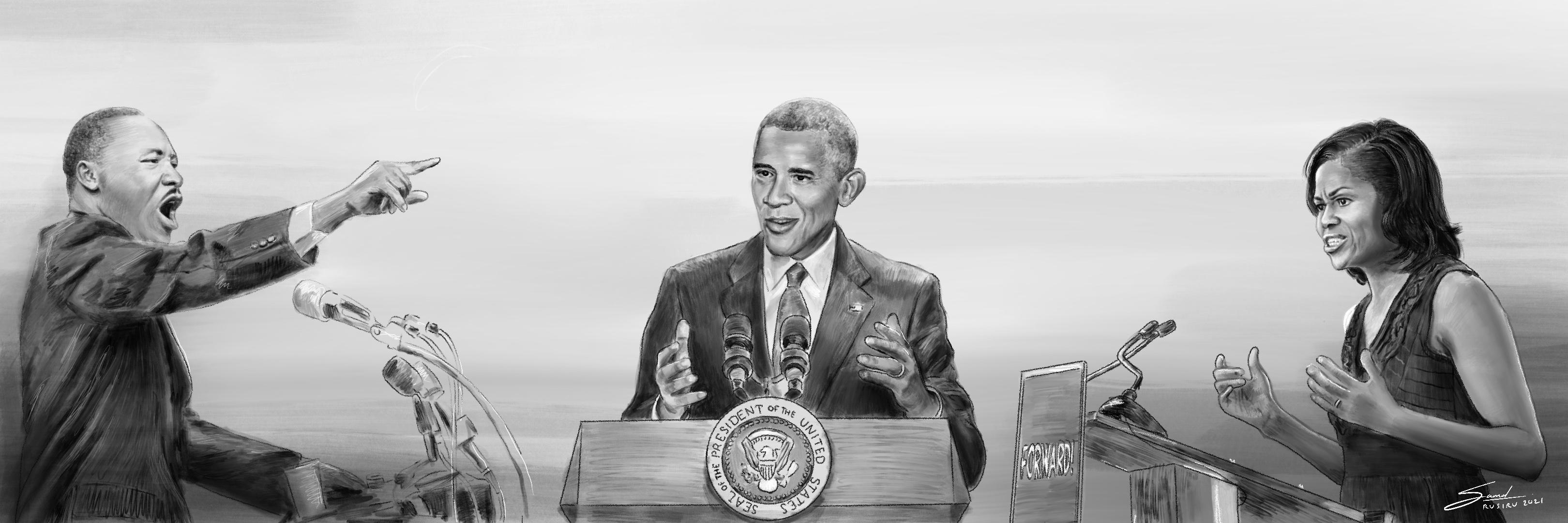Poster of Martin Luther King.Jr, Barack Obama, and Michelle Obama.