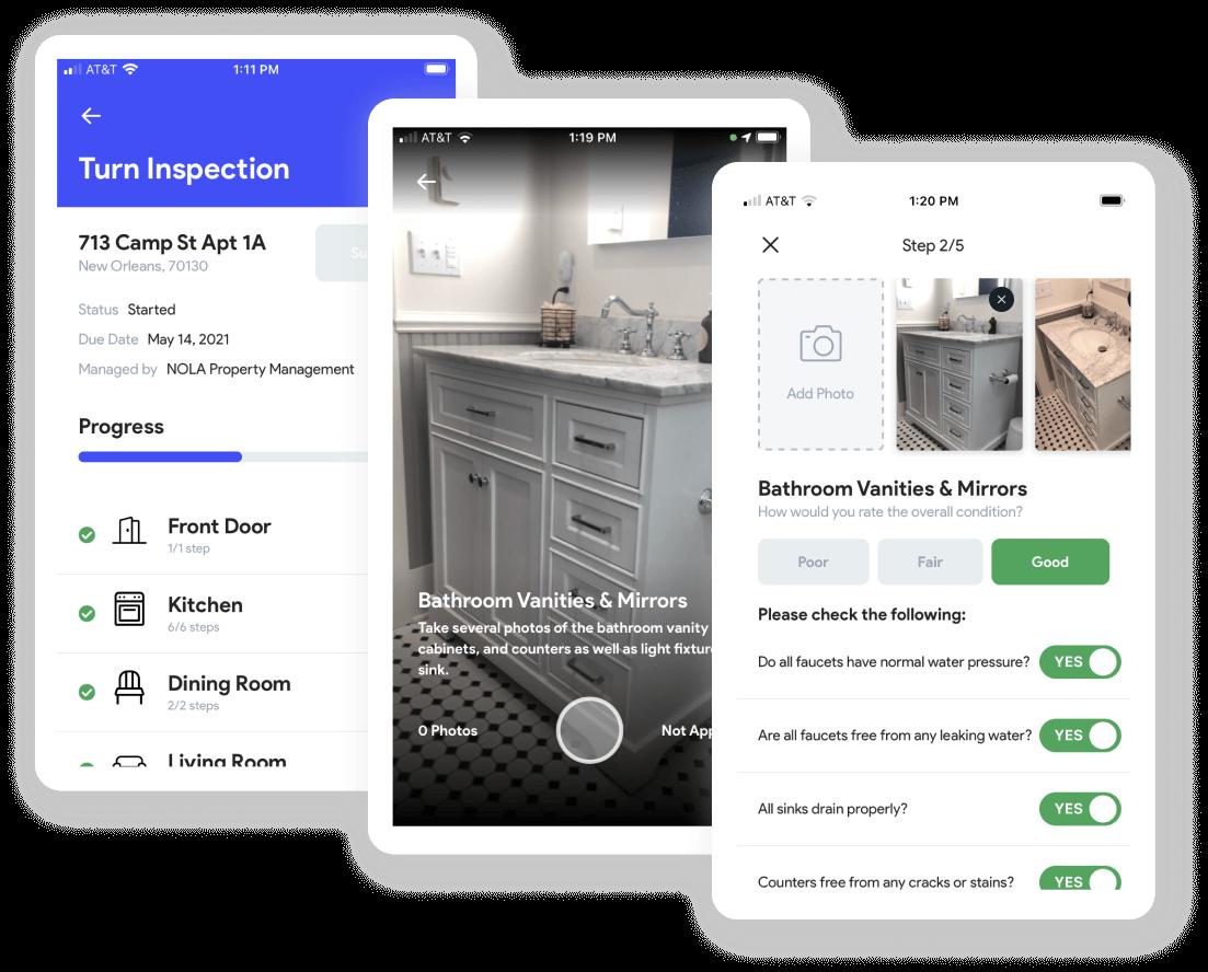 Screenshot of RentCheck app showing inspection checklist