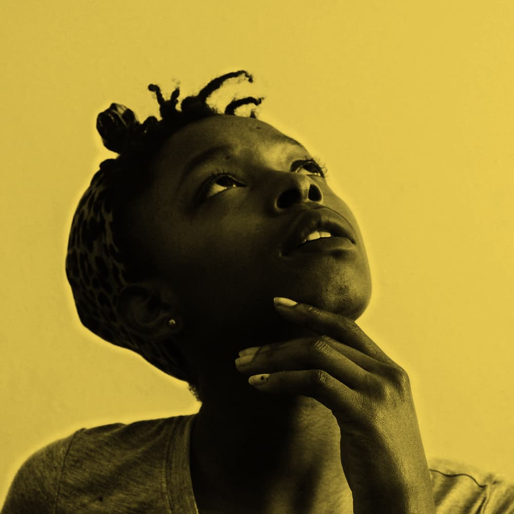 black women with yellow background