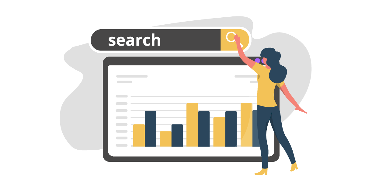 Woman Searching with graph