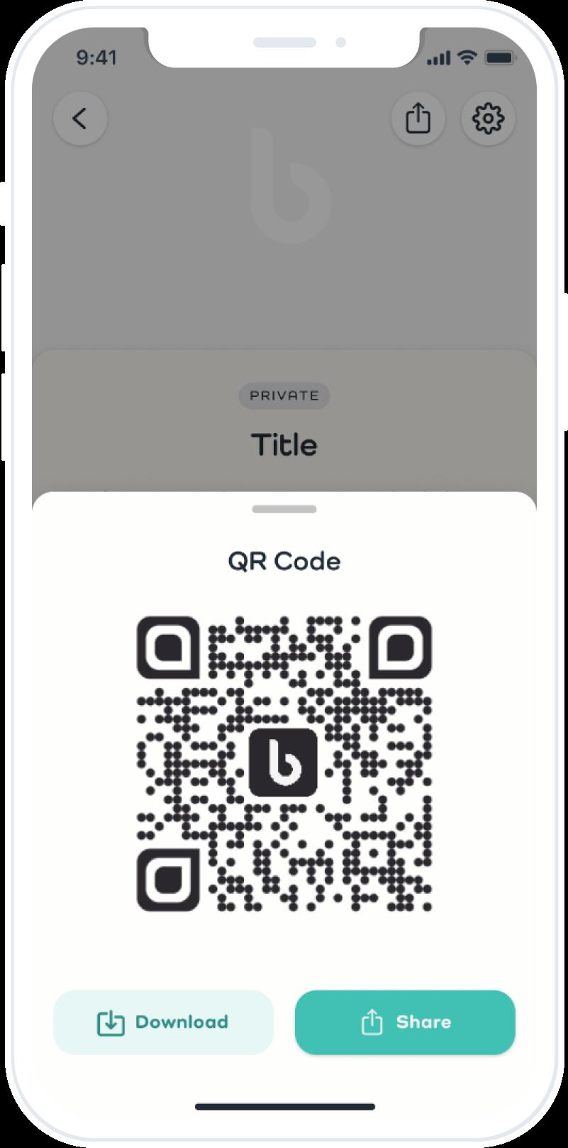 Basket displaying QR code