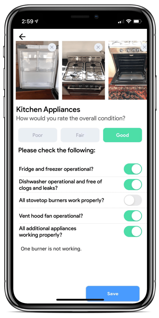 rental inspection app preview of appliances and condition checklist
