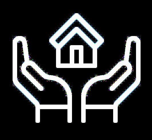 Løsningen hånd og bygning ikon