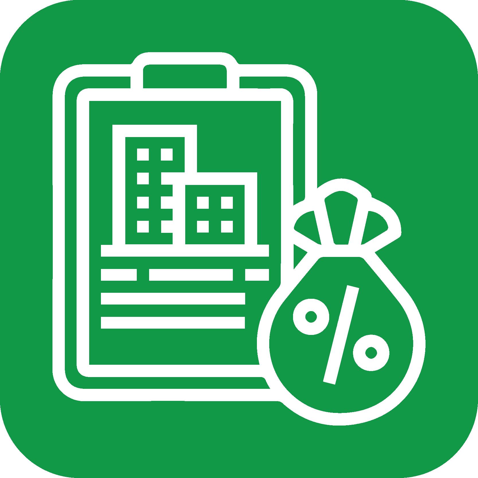 Skatter og afgifter ikon  - ikon grøn