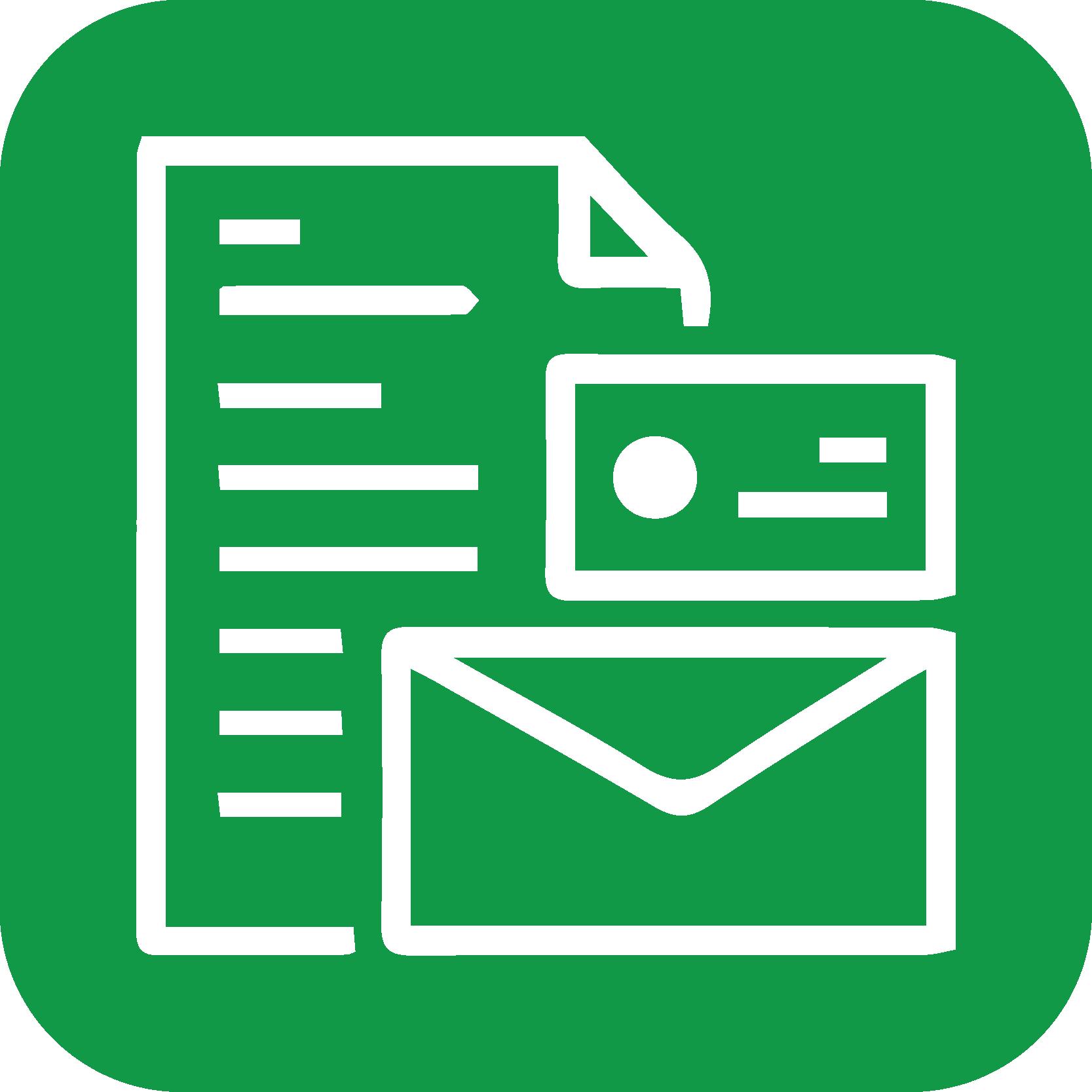 Fleksibel brevfletning ikon grøn