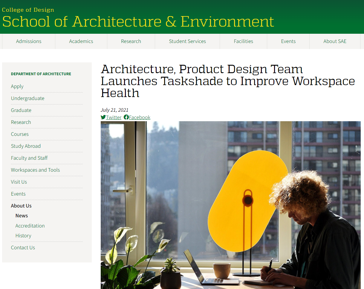 An article about Taskshade from the University of Oregon School of Architecture & Environment.