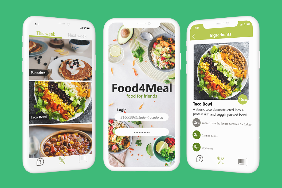 Three generic white phones side by side showing a green and white interface with various food photos on it.