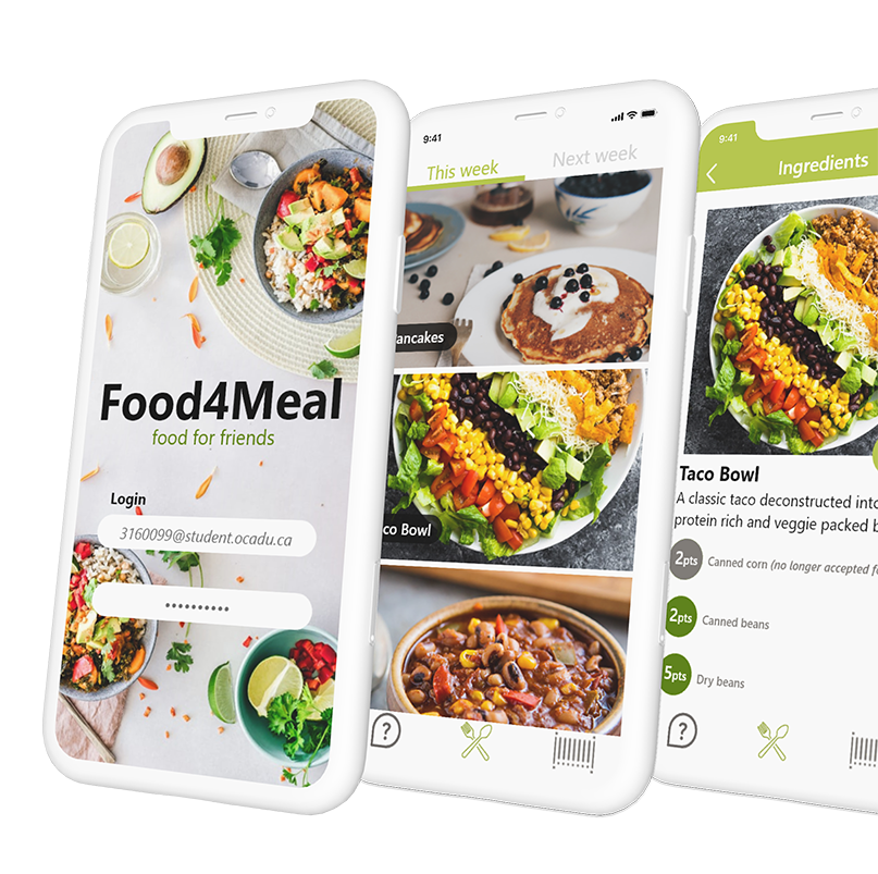 """Three generic white phones overlapping display Food4Meal app screens. The first screen has a background of colourful plated tacos and reads """"Food4Meal: food for friends"""" and has a login and password field. The other screens display various food items and their titles: pancakes, taco bowl, and quinoa and black bean chilli."""