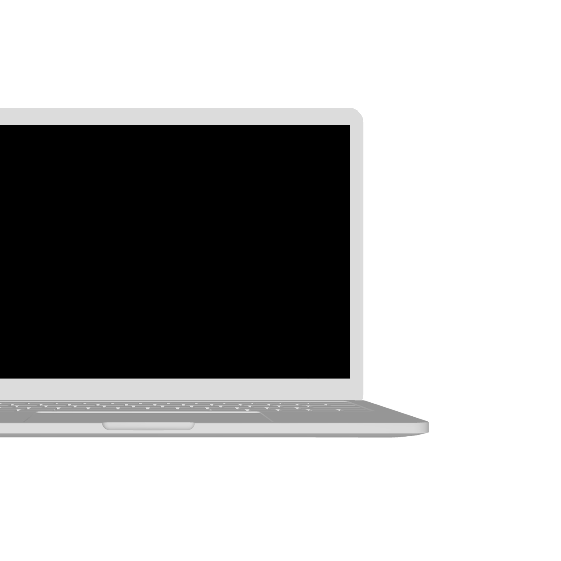 """A grey generic laptop displaying a black screen with white text. The text reads """"What's Expected of Us"""" in large caps. Beneath it, the words """"a short science fiction story"""" appear randomly one letter at a time."""