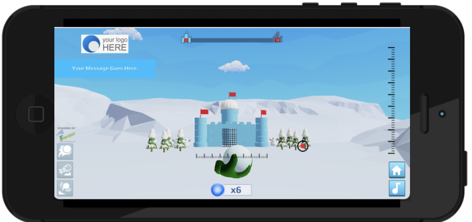 Games work on all devices and orientations. This is the SnowFort game.