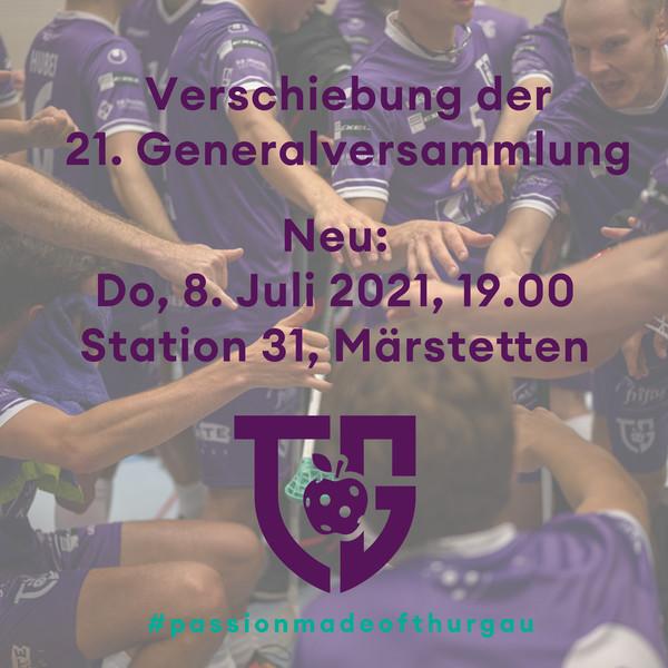 Verschiebung der 21. Generalversammlung von Floorball Thurgau