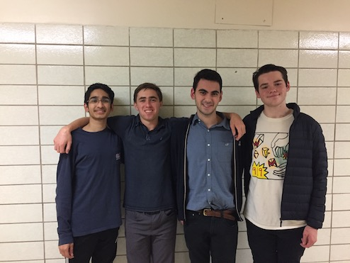 DebateDrills Alumni Rex and Tej pose for a photo with Coaches Raffi and Whit