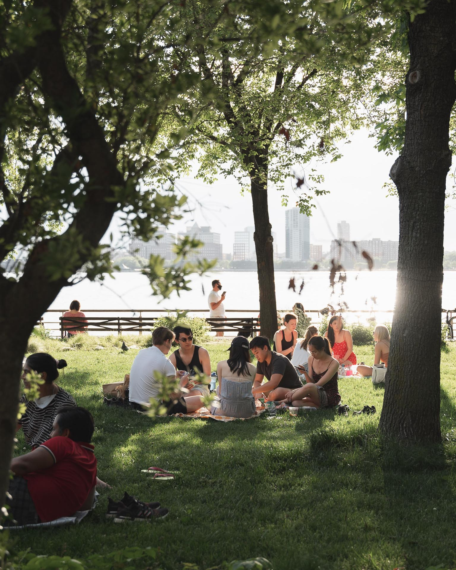 People having a picnic in a park.