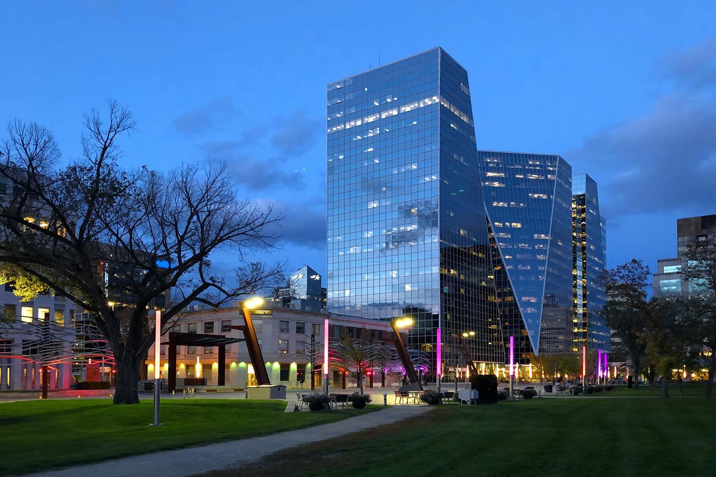 Downtown Regina at night.