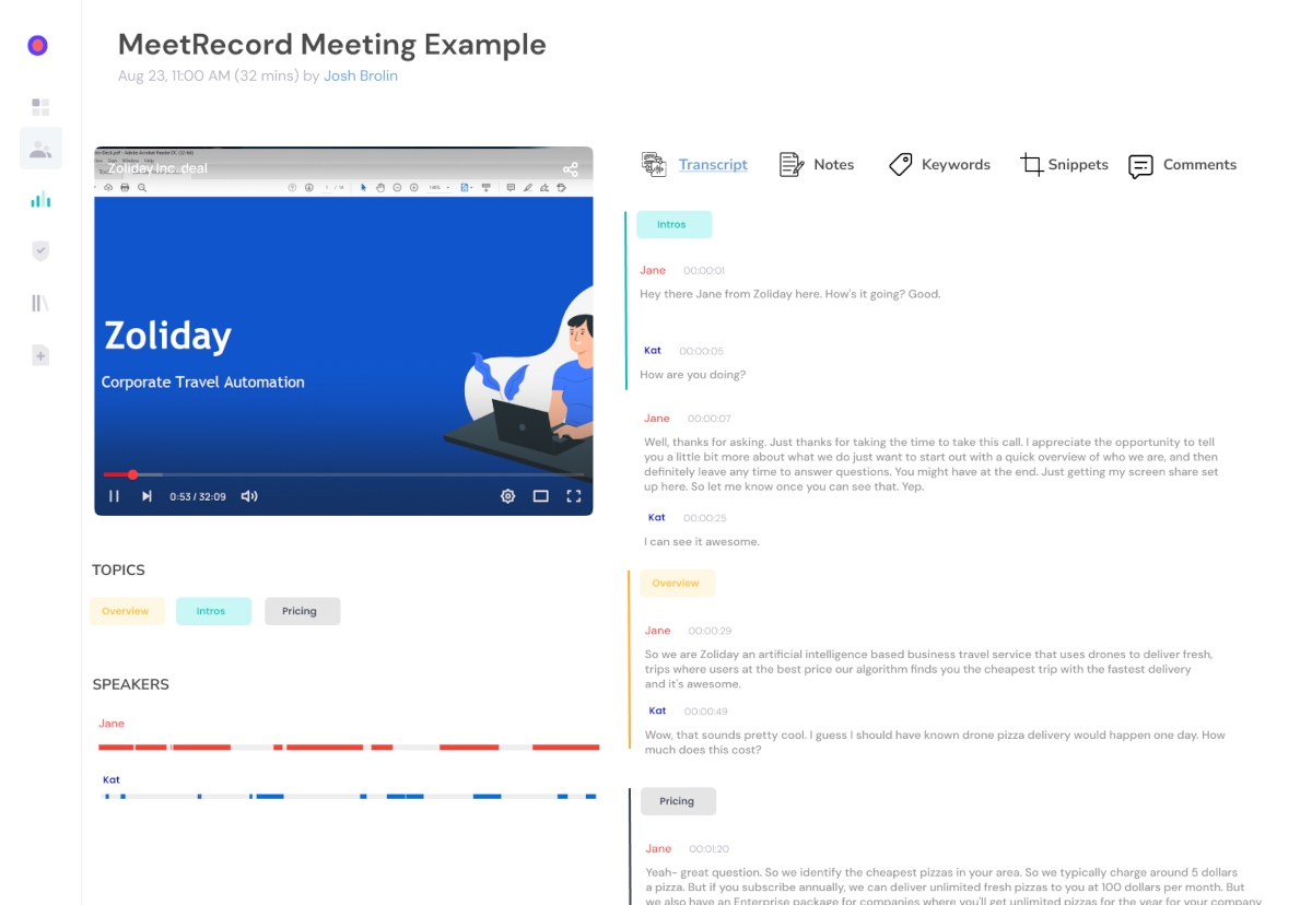 Meeting transcript analysis - Capture and Analyse Every Interaction