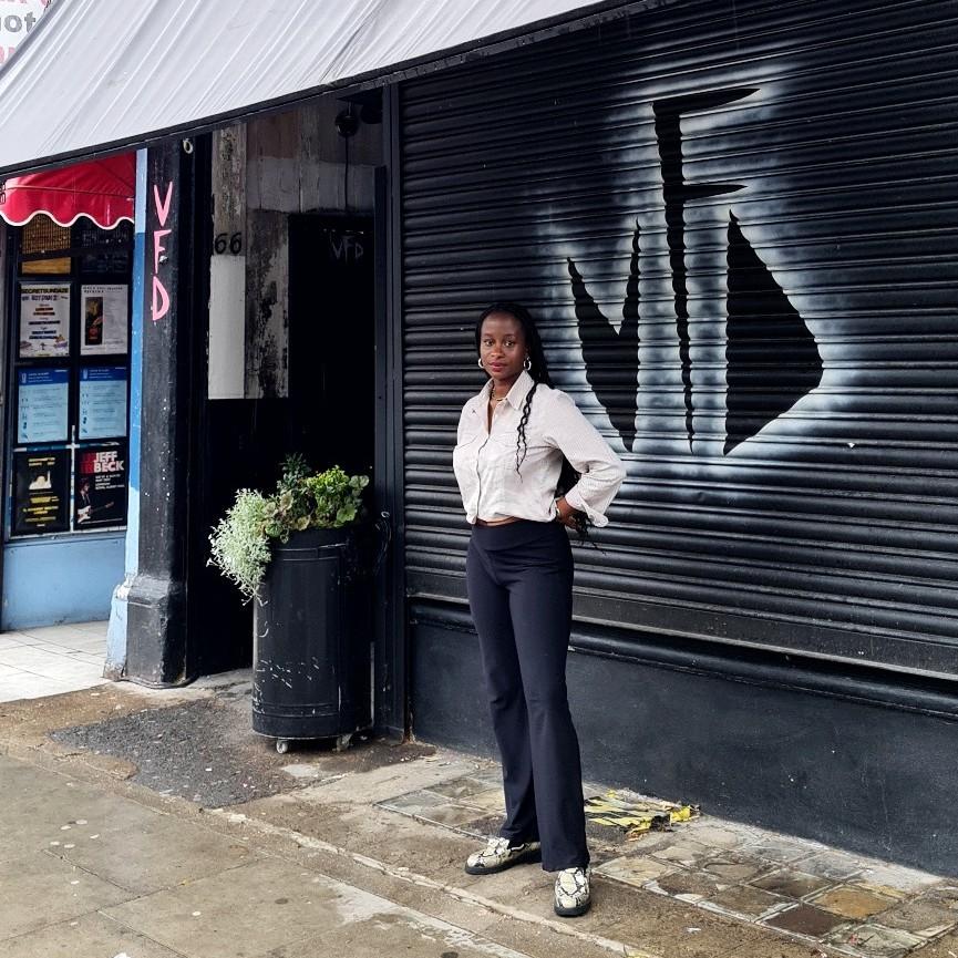 Halina Edwards outside of Vogue Fabrics