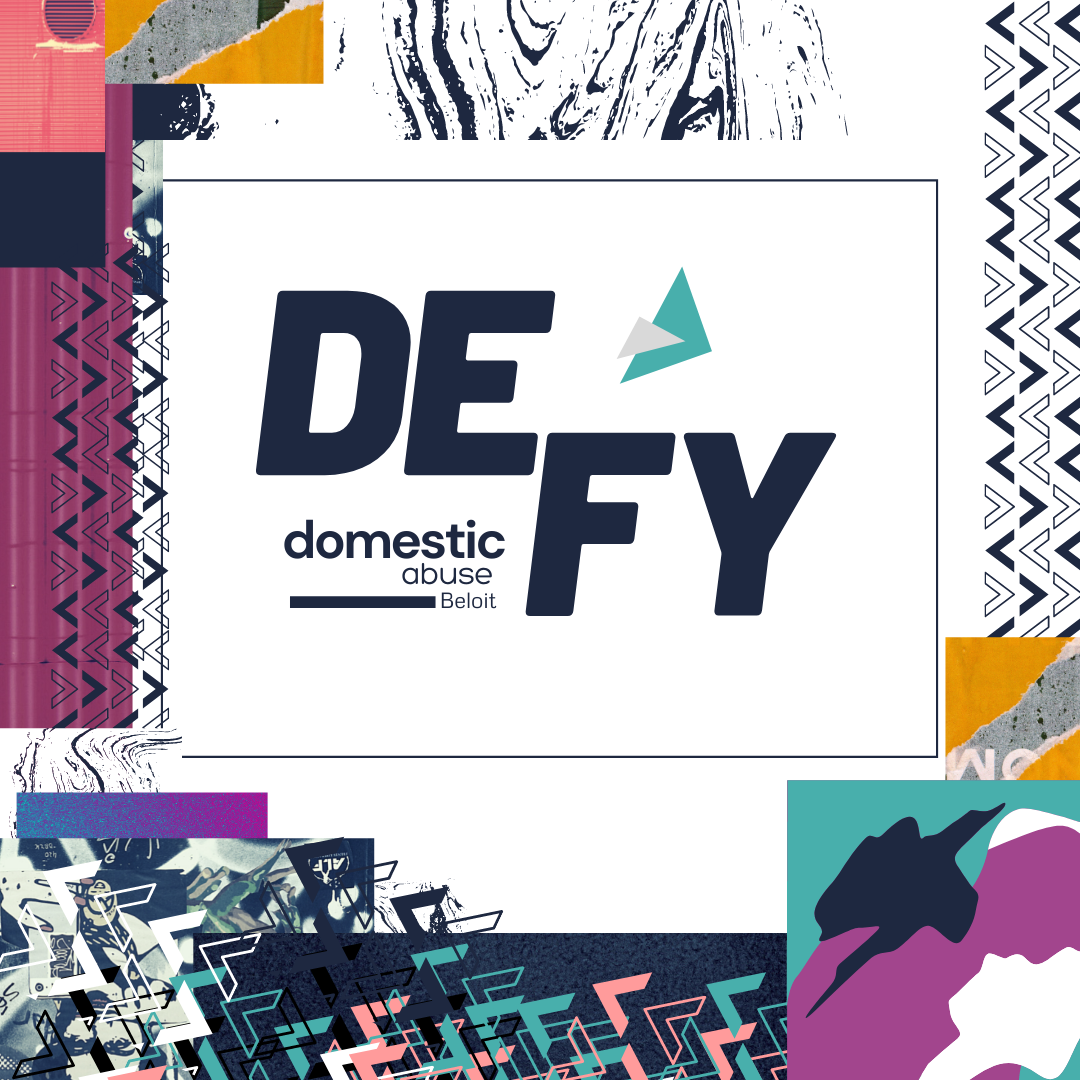 Logo and social media post created by Owl Street Studio  for Defy Domestic Abuse Beloit