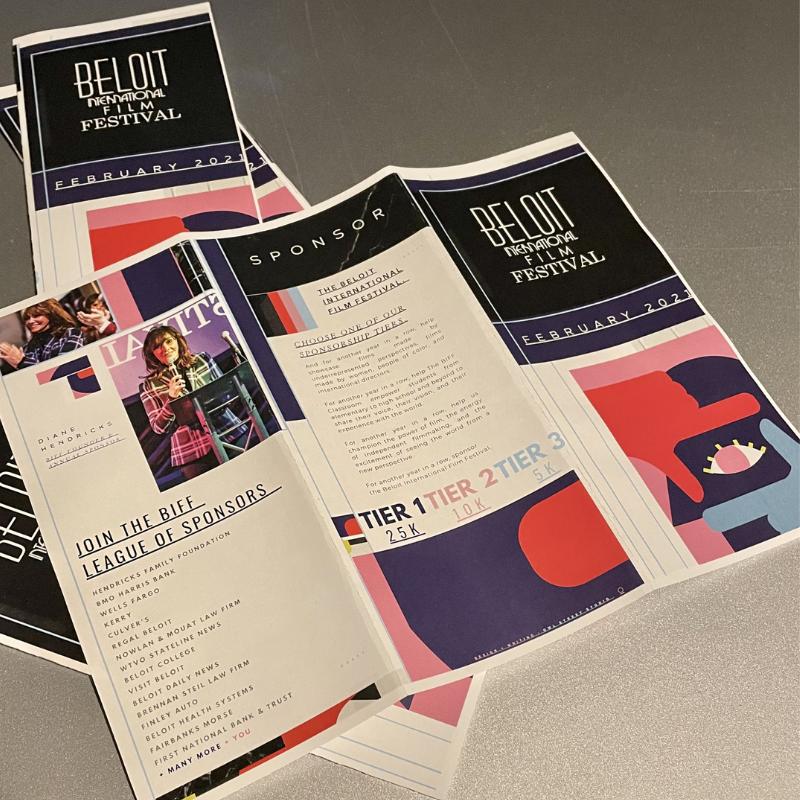 Photo of sponsorship brochure created by Owl Street Studio for Beloit International Film Festival