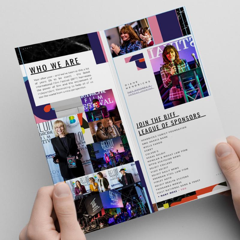 Inside fold of sponsorship brochure created by Owl Street Studio for Beloit International Film Festival