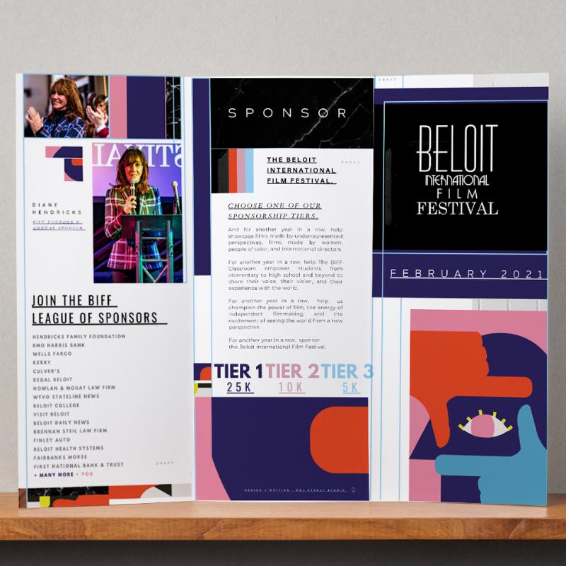 Outside of sponsorship brochure created by Owl Street Studio for Beloit International Film Festival