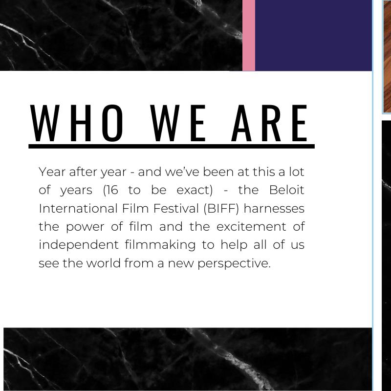 Excerpt from sponsorship brochure  created by Owl Street Studio for Beloit International Film Festival