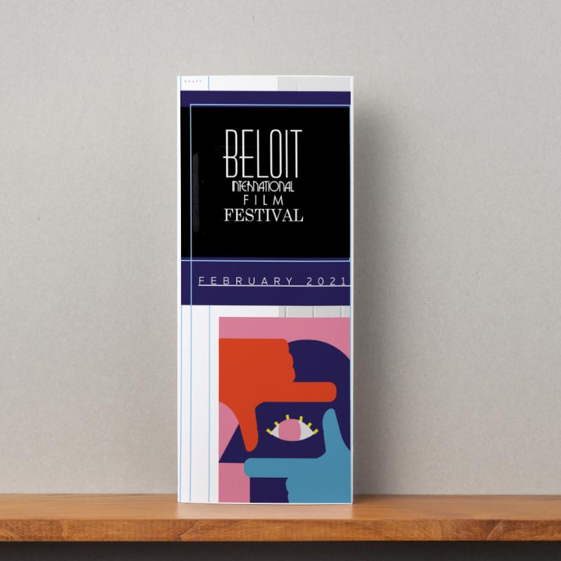 Front cover of sponsorship brochure created by Owl Street Studio for Beloit International Film Festival