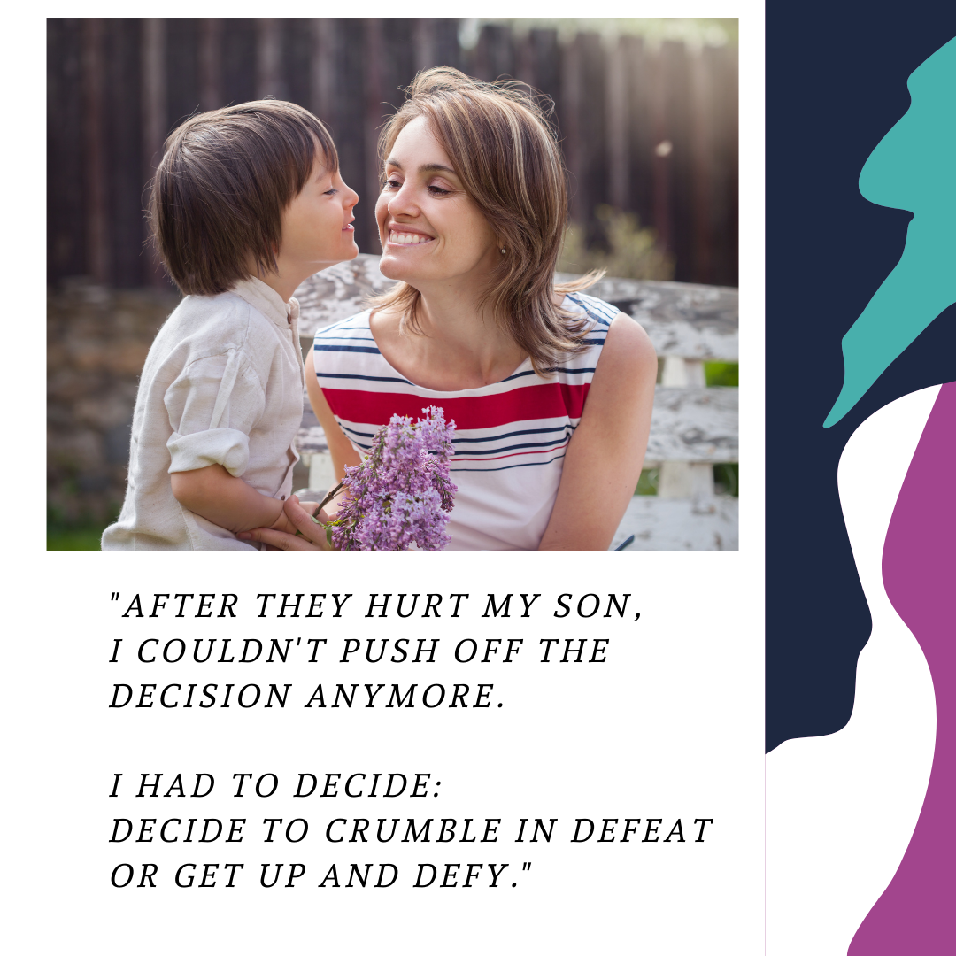 Client testimonial layout created by Owl Street Studio for Defy Domestic Abuse Beloit