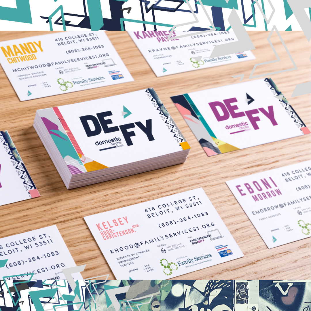 Business cards created by Owl Street Studio for Defy Domestic Abuse Beloit