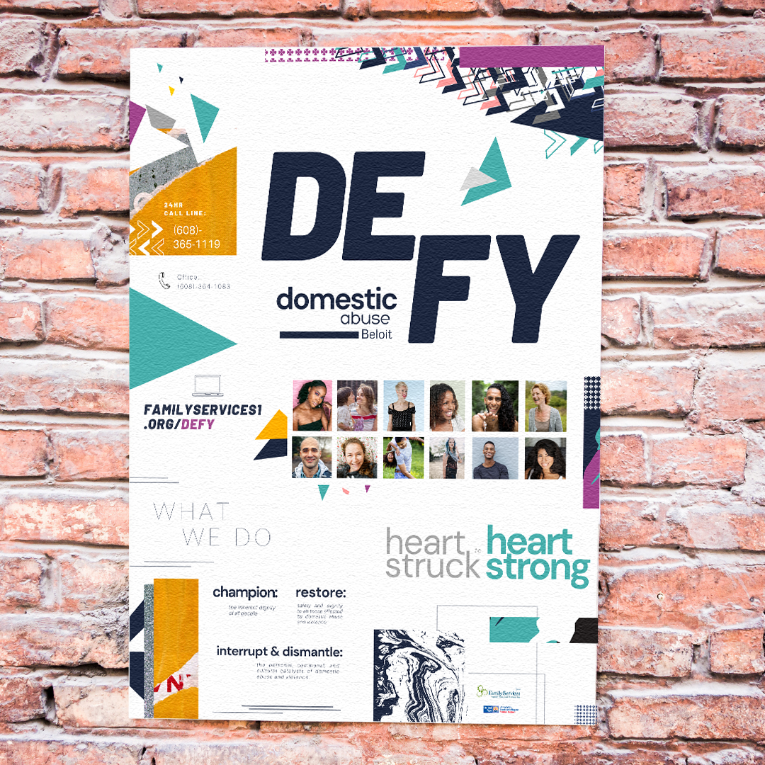 Promotional poster created by Owl Street Studio for Defy Domestic Abuse Beloit