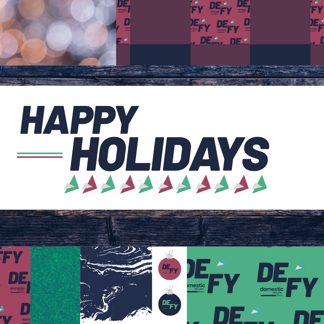 Holiday sub-brand created by Owl Street Studio for Defy Domestic Abuse Beloit