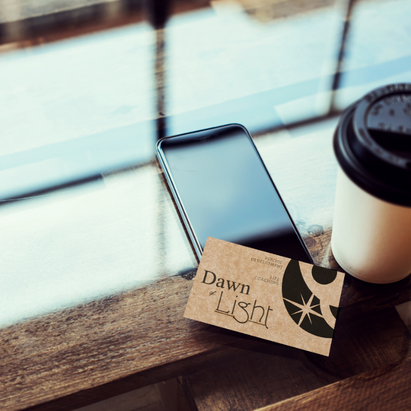 Business cards created by Owl Street Studio for Dawn of Light