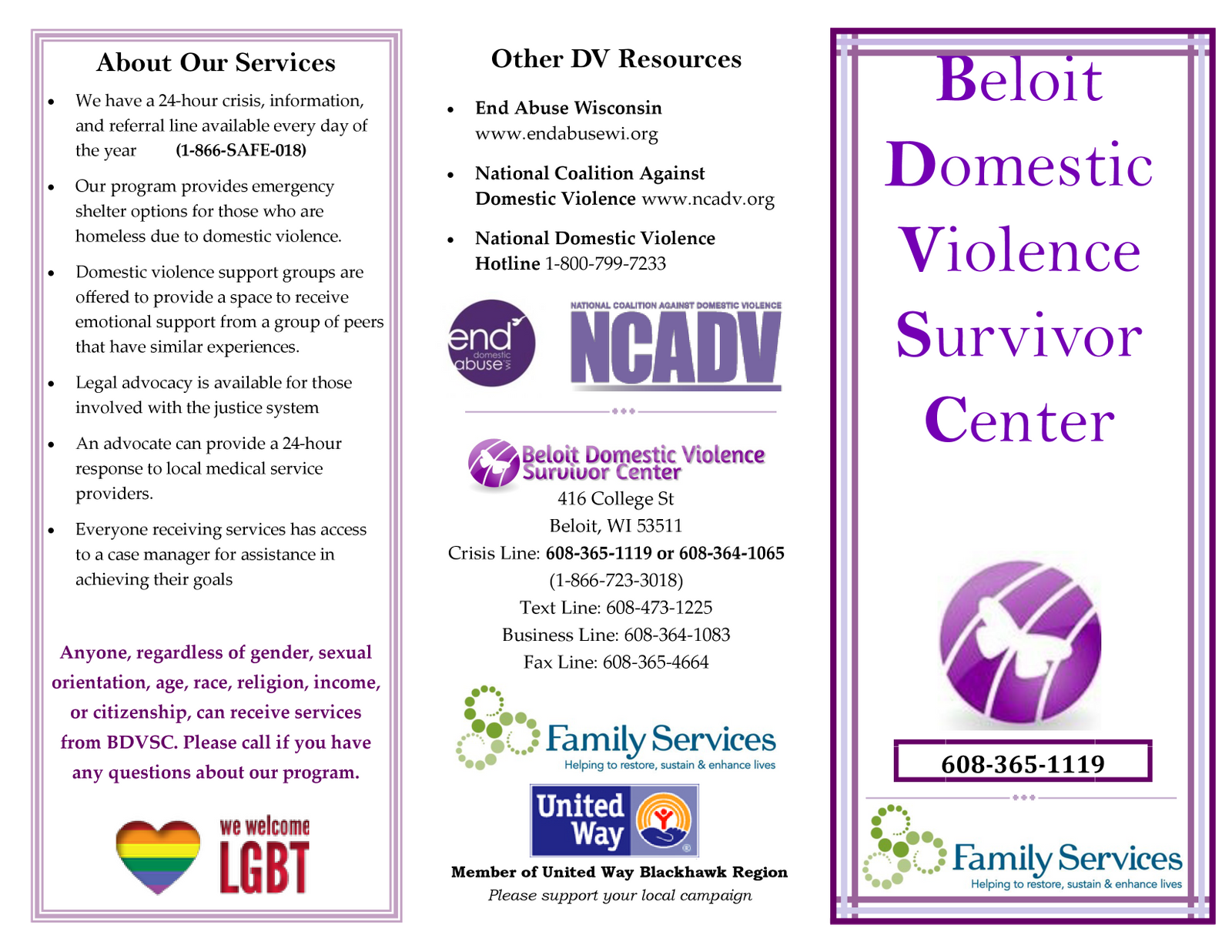 Example of old brand materials for Defy Domestic Abuse Beloit