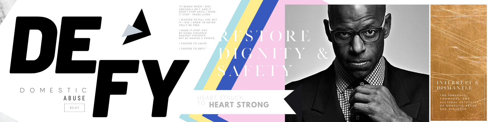 Brand stylescape created by Owl Street Studio for Defy Domestic Abuse Beloit