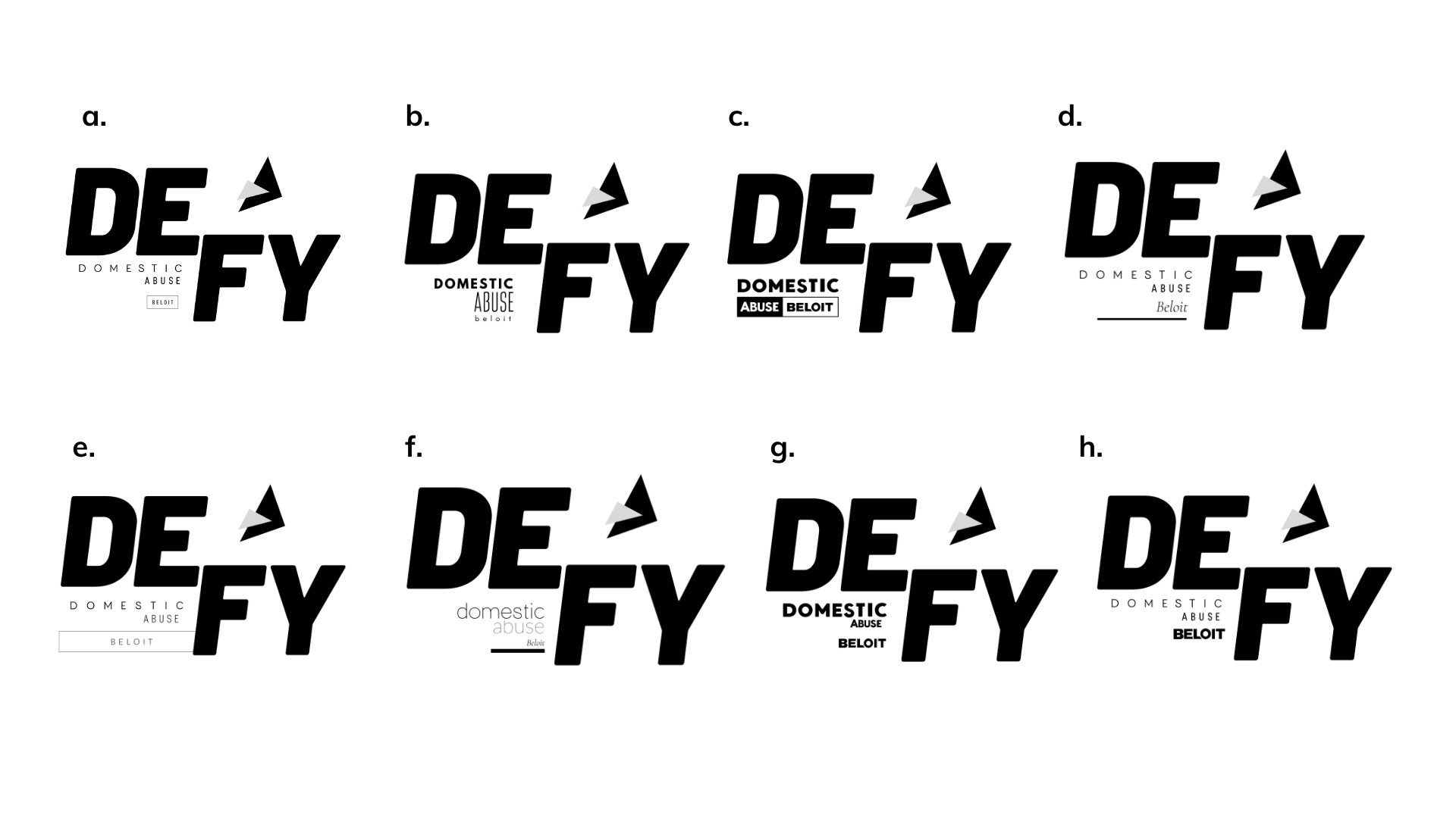 Example of logo refinement created by Owl Street Studio for Defy Domestic Abuse Beloit