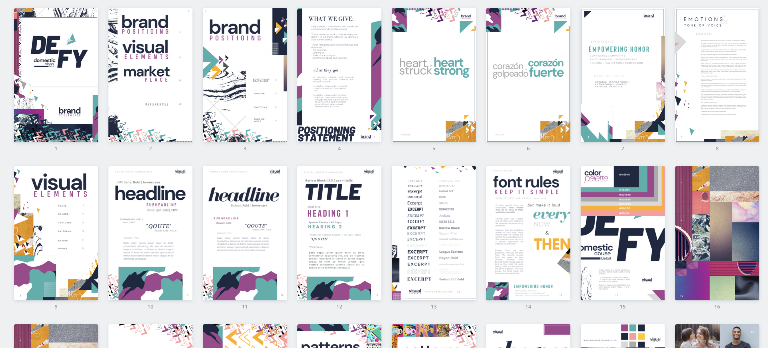 Example of brand styleguide created by Owl Street Studio for Defy Domestic Abuse Beloit