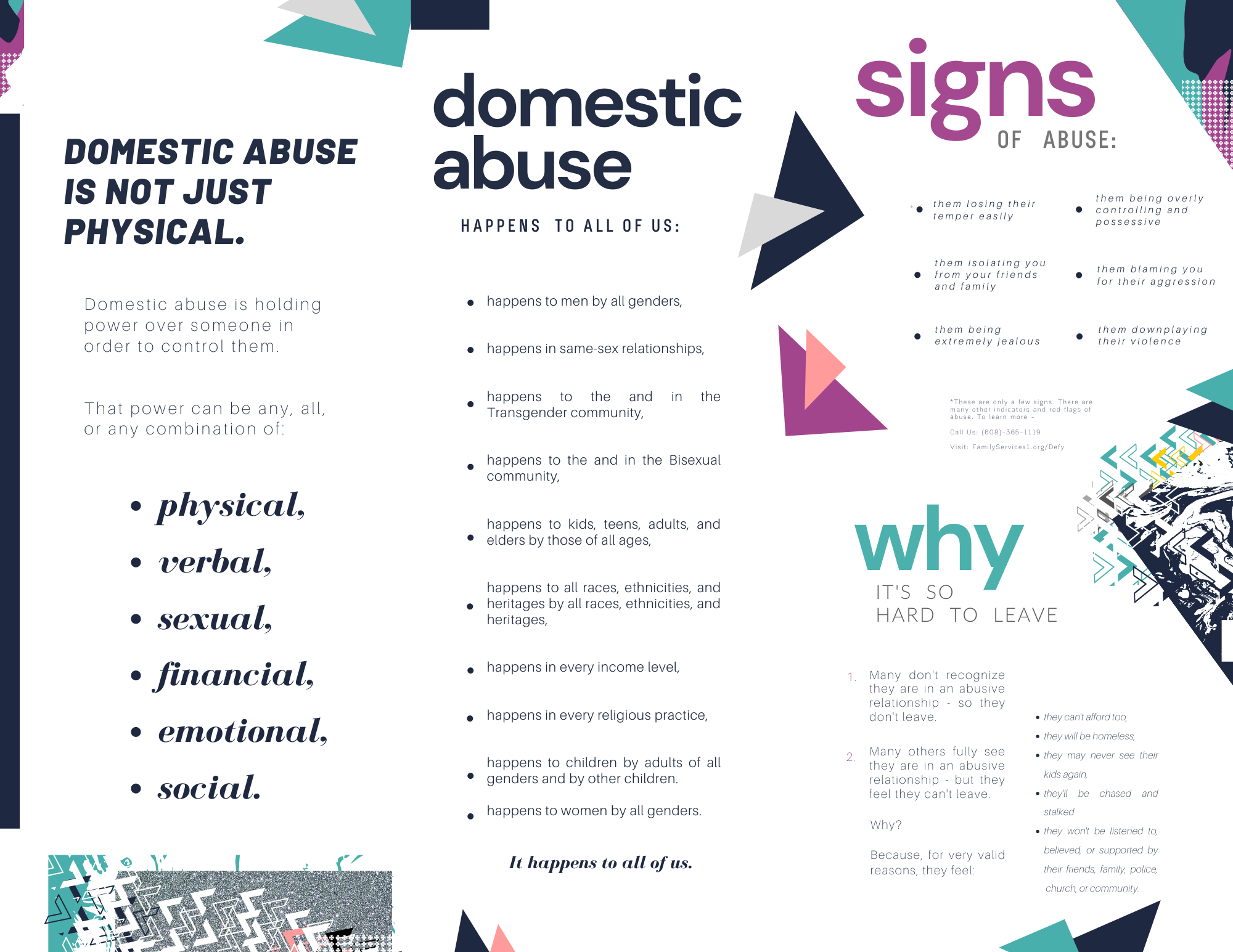 Brochure created by Owl Street Studio for Defy Domestic Abuse Beloit